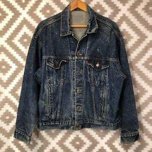 Vintage 80s Levi's Dark Wash Denim Trucker Jacket